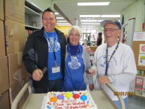 Ron, Judy, Jim Cake cutting
