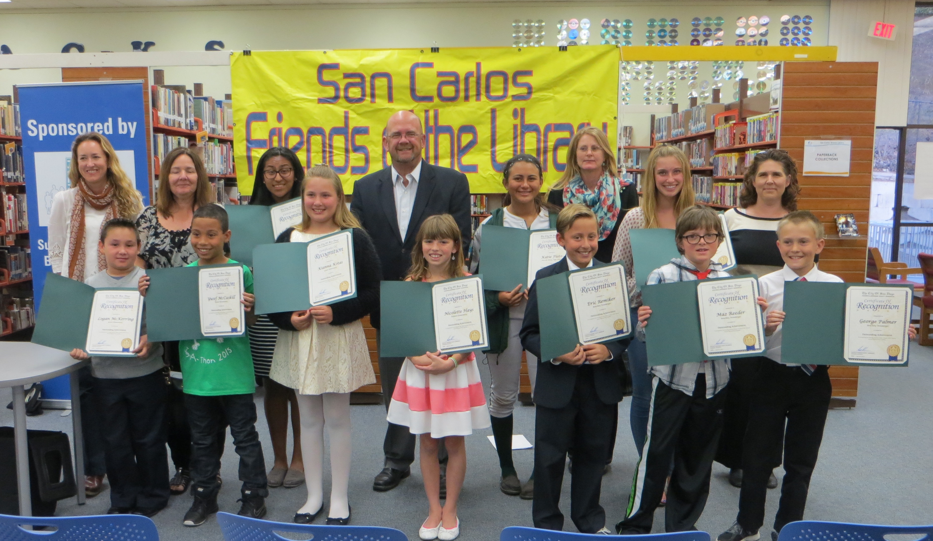 san carlos friends of the library local winners of th annual the local san carlos winners of the 18th annual student writing for literacy library essay contest were announced at an award ceremony held at the san