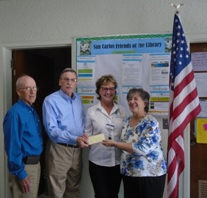 $500 check presented from SC Area Council, May, 2015 Jay Coulter,  John Pilch, Rita Glick, Mickey Zeichek