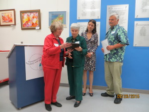 Judy McCarty presenting plaque in memory of Orlie Baird to his wife-Gay, and daughter & son, May 21, 2015 (1)