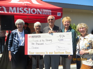 Mission Federal: SCFOL President Joan Hayes, Past President Judy Williams, Treasurer Jerry Hotz, Publicity Sue Hotz, Past President Judy McCarty