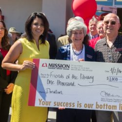Mission Fed $1000 4.2.2016 Angie Lasagna, Jpan Hayes (SCFOL Pres), Jerry Hotz (SCFOL Treasurer)